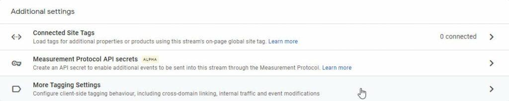 Google analytics tag settings