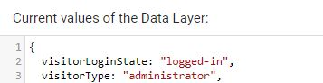 GTM datalayer admin log-in