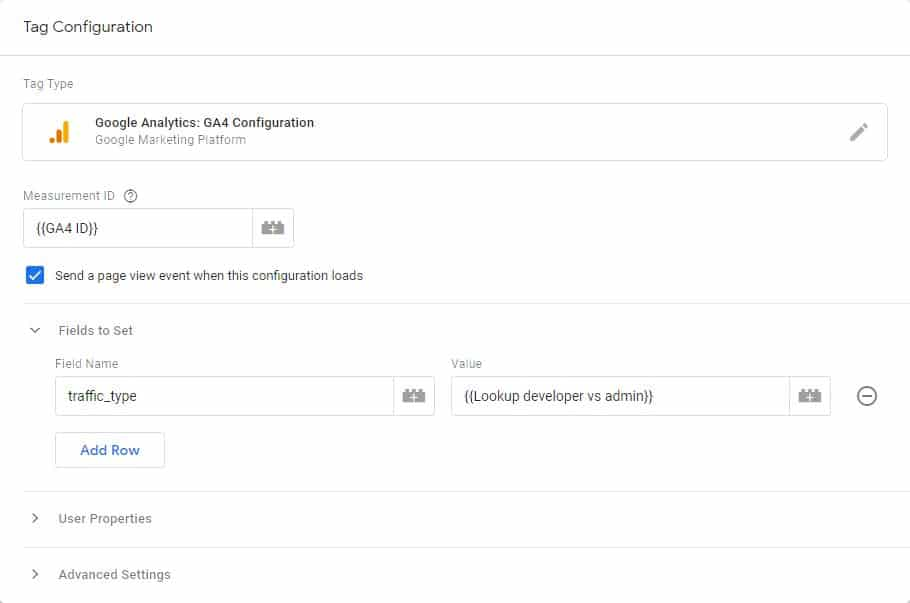 Configuration tag GTM